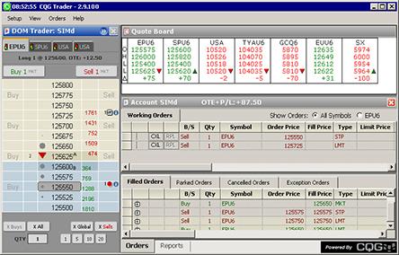 Screenshot of CQG Trader
